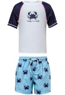 Snapper-Rock---UV-zwemset-met-Boardshort---Blauw-Crab---Blauw/Wit