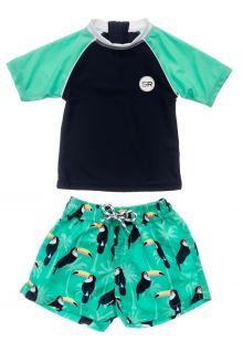 Snapper-Rock---UV-zwemset-voor-baby-jongens---Korte-mouw---Toucan-Talk---Donkerblauw/Mint