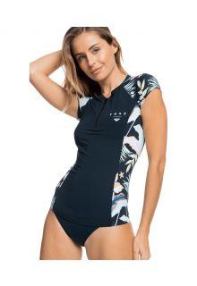 Roxy---UV-Zwemshirt-voor-dames---Half-Zip-Lycra---Antraciet/Bloemen