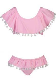 Snapper-Rock---Flounce-Bikini-voor-meisjes---Pom-Pom---Roze