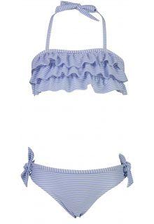 Snapper-Rock---Bandeau-Bikini-voor-meisjes---Stripes---Blauw/Wit
