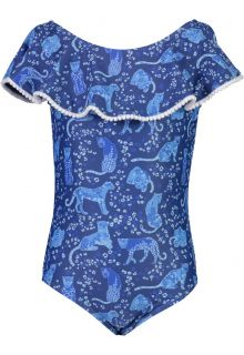 Snapper-Rock---Badpak-Off-Shoulder-voor-meisjes---Cheetah-Frill---Blauw