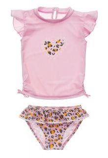 Snapper-Rock---UV-zwemset-voor-baby-meisjes---Korte-mouwen---Leopard-Love---Roze