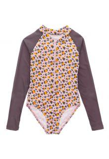 Snapper-Rock---UV-zwempak-voor-meisjes---Longsleeve---Leopard-Love---Roze
