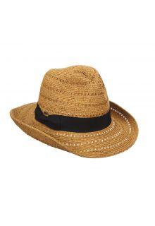 Scala---Gevlochten-papieren-hoed-met-sierlint-voor-dames---Kaki