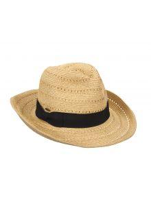 Scala---Gevlochten-papieren-hoed-met-sierlint-voor-dames---Naturel