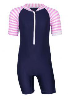 JUJA---UV-Zwempak-voor-baby's---korte-mouwen---Stripes---Donkerblauw