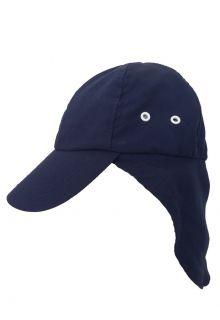 Rigon---UV-zonnepet-met-nekflap-voor-kinderen---Navy-blauw