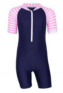 JUJA---UV-Zwempak-voor-baby's---korte-mouwen---Stripy---Donkerblauw/Roze