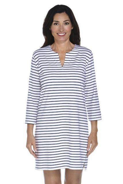 Coolibar---UV-jurk-Dames---Donkerblauw-/-Wit-gestreept