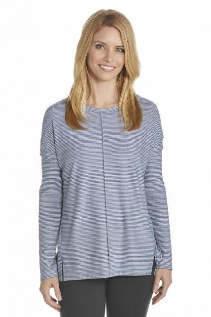 Coolibar---UV-shirt-dames---Donkerblauw-/-Wit