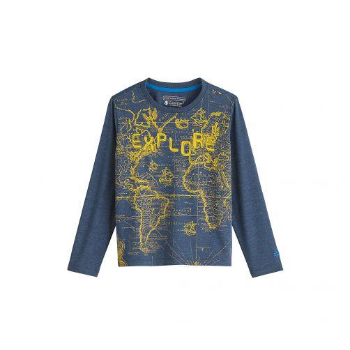 Coolibar---UV-shirt-voor-kinderen---Blauw-met-opdruk-wereldkaart