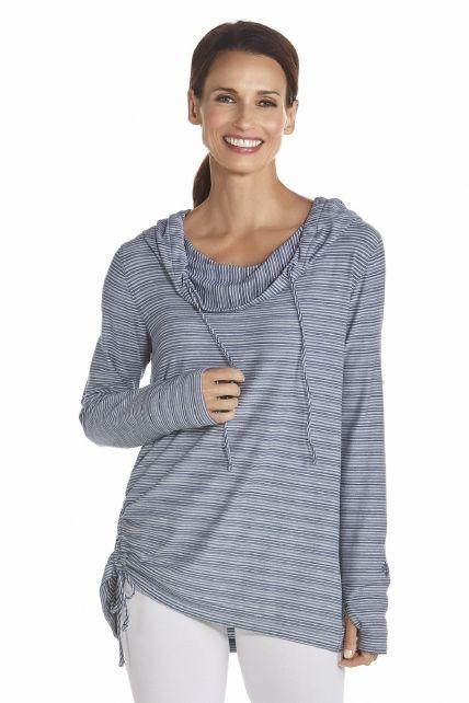 Coolibar---UV-T-shirt-lange-mouwen-dames---Donkerblauw-/-Wit