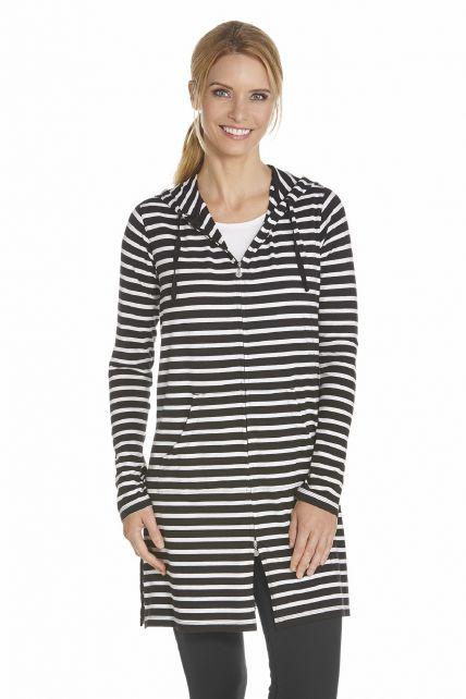 Coolibar---Lange-UV-vest-voor-dames---Zwart-gestreept
