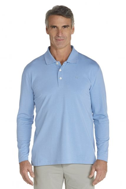 Coolibar---UV-Polo-longsleeve-heren---licht-blauw