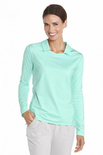 Coolibar---UV-Polo-dames-lange-mouwen---Mint