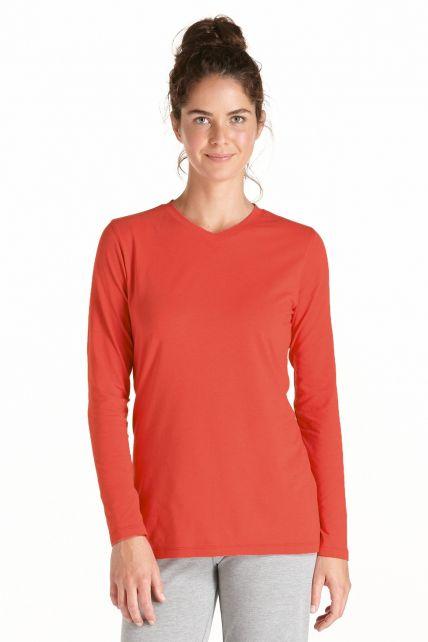 Coolibar---UV-longsleeve-shirt-dames---Koraal-rood