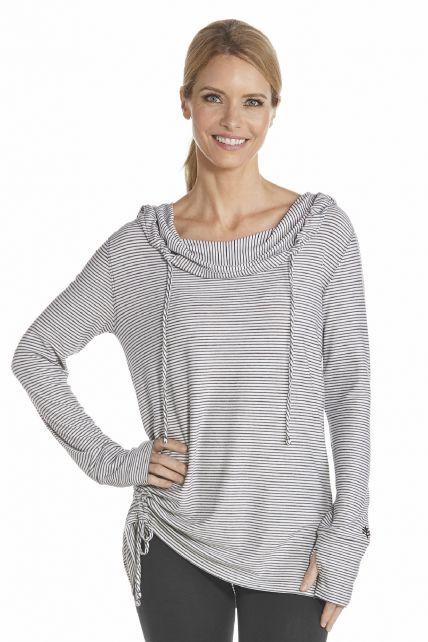 Coolibar---UV-T-shirt-lange-mouwen-dames---Zwart-/-Wit