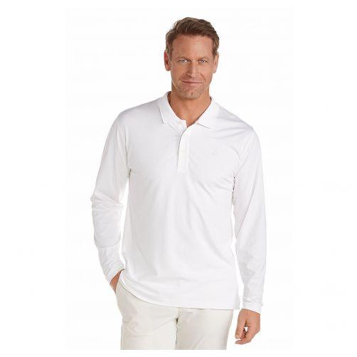 Coolibar---UV-poloshirt-voor-heren-lange-mouwen---Wit