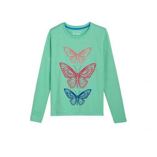 Coolibar---UV-shirt-voor-meisjes---Groen-met-opdruk-vlinders