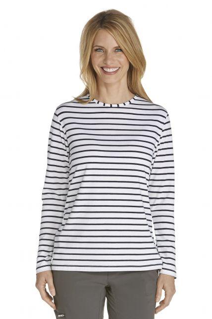 Coolibar---UV-Shirt-voor-dames---Longsleeve---Morada---Wit/Navy