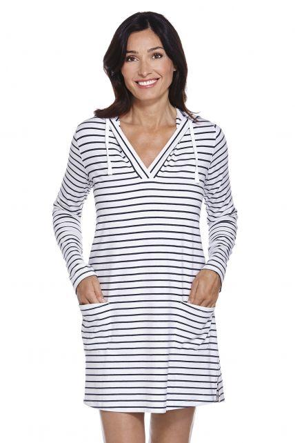 Coolibar---UV-jurk-voor-dames-met-capuchon---blauw-/-Wit-gestreept