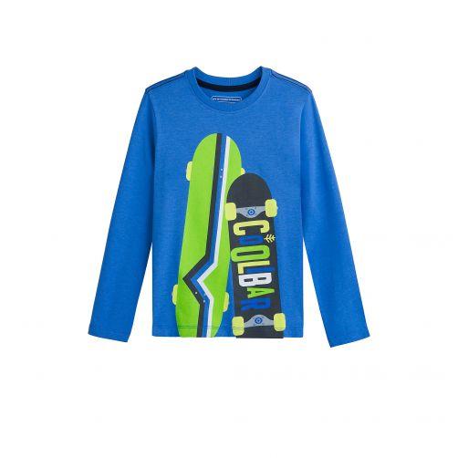 Coolibar---UV-shirt-voor-jongens---Blauw-met-opdruk-skateboards