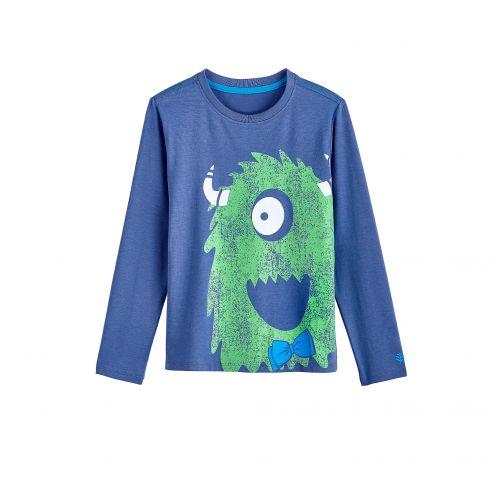 Coolibar---UV-shirt-voor-kinderen-lange-mouwen---Groen-monster