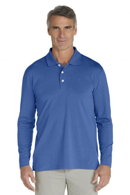Coolibar---UV-Polo-longsleeve-heren---blauw