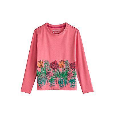 Coolibar---UV-shirt-voor-meisjes---Roze-met-opdruk-bloementuin
