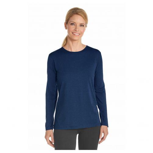 Coolibar---UV-Longsleeve-shirt-voor-dames---Navy-blauw