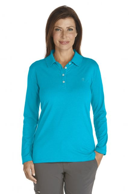 Coolibar---UV-Polo-longsleeve-dames---Azuur-Blauw