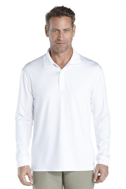 Coolibar---UV-Polo-longsleeve-heren---wit