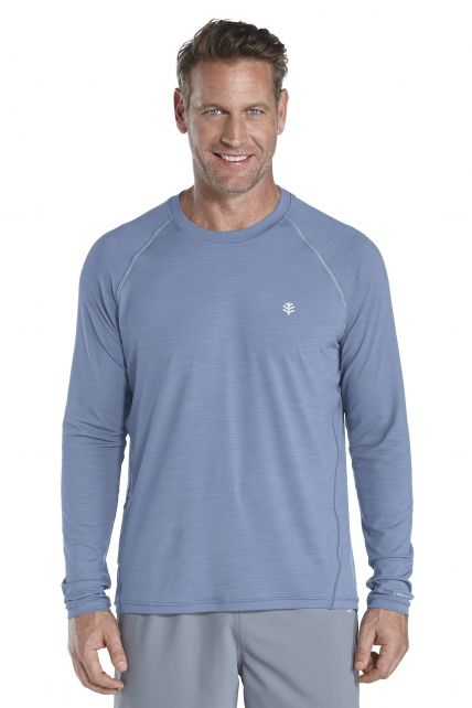 Coolibar---UV-longsleeve-shirt-heren---blauw