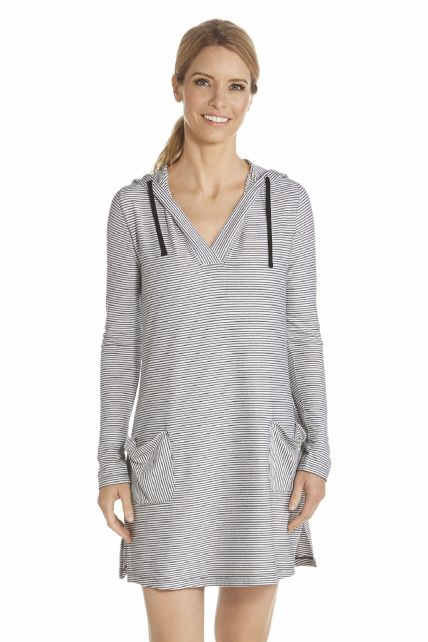 Coolibar---UV-jurk-met-capuchon-dames---Wit-/-Zwart