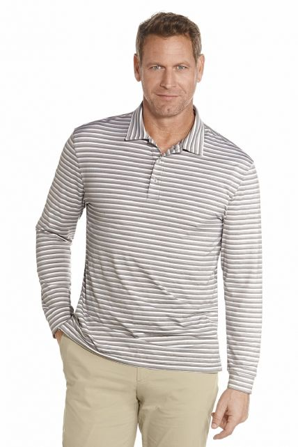Coolibar---UV-golf-Polo-lange-mouwen---Grijze-strepen