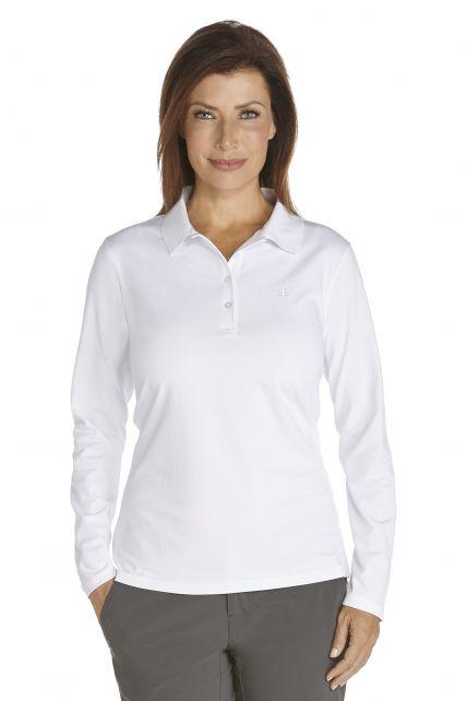 Coolibar---UV-Polo-longsleeve-dames---wit-