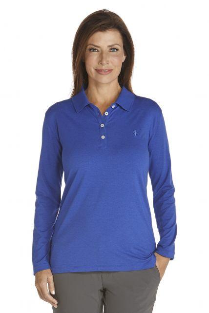 Coolibar---UV-Polo-longsleeve-dames---blauw-