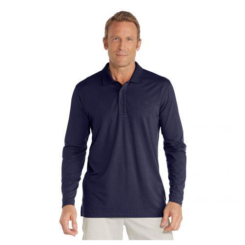Coolibar---UV-Poloshirt-voor-heren---Longsleeve---Coppitt---Navy