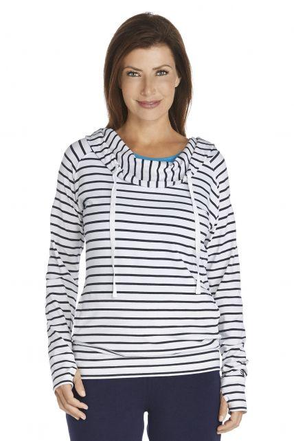 Coolibar---UV-hoodie-dames---donkerblauw-/-wit-gestreept