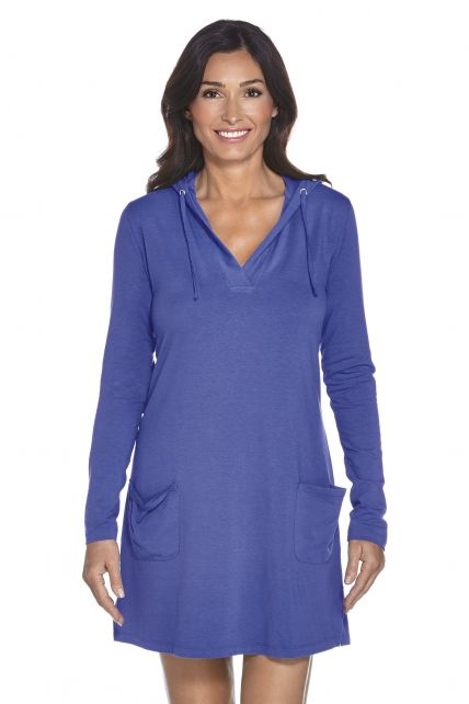 Coolibar---UV-jurk-voor-dames-met-capuchon---Blauw