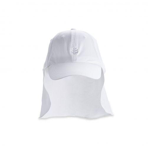 Coolibar---UV-unisex-zonnepet-met-flap---Wit