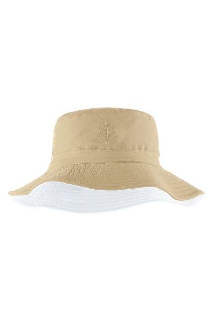 Coolibar---UV-bucket-hat-voor-kinderen---Geelbruin-/-wit