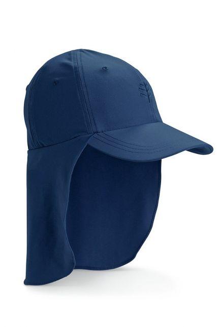Coolibar---UV-zonnepet-voor-kinderen-met-nekflap---Navy-blauw