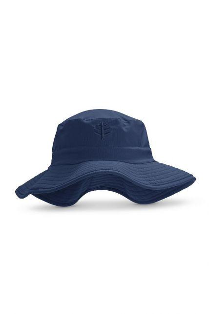 Coolibar---UV-Bucket-Hoed-met-brede-rand-voor-kinderen---Surfs-Up---Navy
