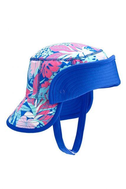 Coolibar---UV-bucket-hat-baby's---Opvouwbare-rand---Tropisch-blauw