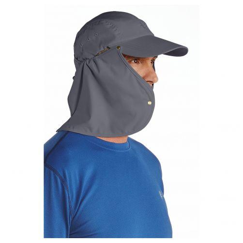 Coolibar---UV-zonnepet-voor-heren-met-nekflap---Steengrijs-/-zwart