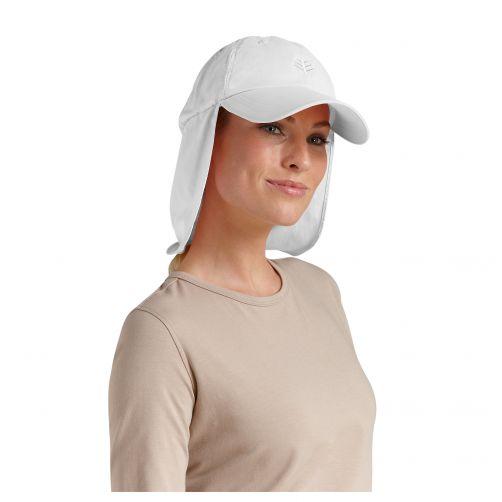 Coolibar---UV-zonnepet-met-nekflap-unisex---Wit