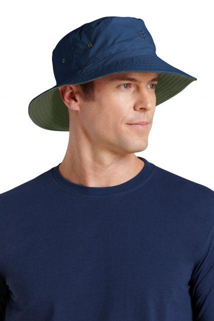Coolibar---UV-omkeerbare-hoed-voor-heren---Donkerblauw-/-Donkergroen