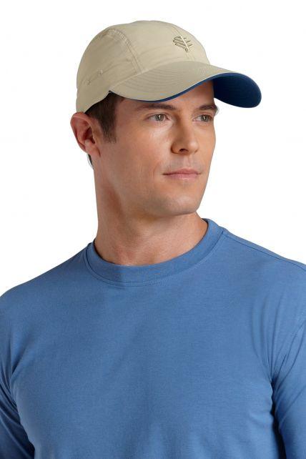 Coolibar---UV-sport-pet-heren---Beige
